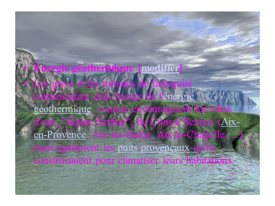 Énergie géothermique [modifier]